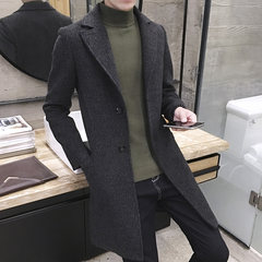In the long section of young male windbreaker thickened Korean cultivating in autumn and winter fashion handsome male British wool tweed coat coat 3XL Thicken black