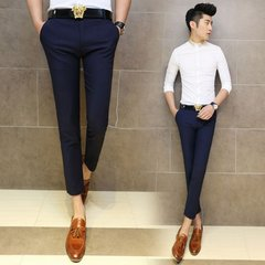 The spring and autumn men's casual trousers British Metrosexual feet thick section black Lycra suit pants pants 30 yards (fit 110-120) Jin Navy Blue good quality nine point pants