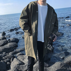 Fried chicken nice ~ autumn drop shoulder in the long hooded jacket handsome overalls loose Korean thin windbreaker tide M Army green