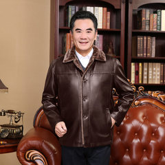 The winter fur middle-aged elderly leisure plus velvet PU jacket coat lapel thickening long leather men 62 (190-210 Jin) brown