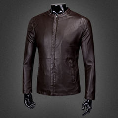 Top coat, leather jacket, men's jacket, 2017 new Haining plush, hot spring clothes, spring and winter motorcycle suits M-[size is smaller! ] 605- coffee - take care oil + Wallet]