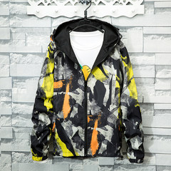 2017 new spring and autumn camouflage coat, male high school students, Korean fashion trend, teenagers short windbreaker suit 3XL Double sided camouflage yellow