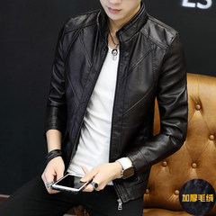 Autumn and winter new men's leather jacket coat thin trend male Korean slim handsome collar PU Mens tide 3XL Coffee (add cashmere)