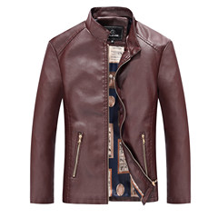 Every spring and autumn special offer Haining fur male Korean youth slim leather jacket coat collar thickened locomotive tide 3XL Red dates (table)