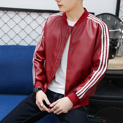 2017 spring and autumn men's leather jacket coat male slim jacket Korean youth coat clothing tide 3XL 911 red