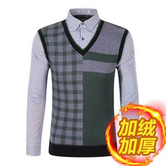 Good quality goods cut standard men's sweaters and cashmere thick warm male shirt collar false two piece winter sweater boy 165/84A (46) 233 green lattices