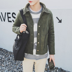 Metrosexual retro winter jacket young lamb wool suede coat lapel handsome students with velvet cotton 3XL W120 army green