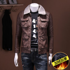 Do the old vintage leather jacket lapel pocket multi male New Winter Youth PU cashmere Jacket Mens Leather and fur collar 4XL Coffee color (add velvet money)