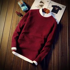 Autumn and winter men's T-shirt sweater Pullover Sweater fashion men's Korean cultivating students 3XL Wine red [single piece]