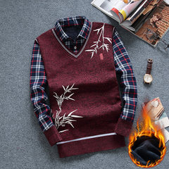 Men's winter sweater shirt collar cashmere sweater with thickened fake two youth slim sleeve head warm sweater 175/XL (125-140 Jin) Red wine of bamboo leaves