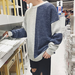 2017 autumn and winter new men's sweater loose sweater Korean winter color personality trend M Navy Blue