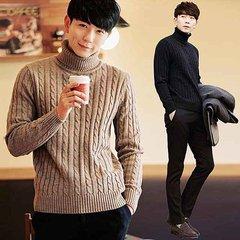 Winter new Aberdeen fresh art men sweater loose turtleneck sweater half Korean couple warm coat M 95-105 Jin A camel -