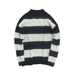 @ Aberdeen literary men in autumn and winter in Korean men's semi turtleneck sweater hedging thickening students relaxed tide S Light grey