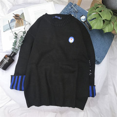 Melody windmill 2017 in autumn and winter sweater T-shirt male Korean loose sweater hedging students thin sweater coat S black