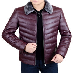 Dandy male winter middle-aged leather thickened down cotton coat lapel dress jacket dad. 175/88A Claret