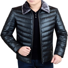 Dandy male winter middle-aged leather thickened down cotton coat lapel dress jacket dad. 175/88A black