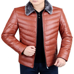 Dandy male winter middle-aged leather thickened down cotton coat lapel dress jacket dad. 175/88A Orange