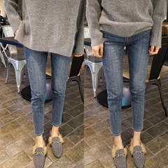 Fat sister large size women autumn high waist stretch denim pants nine fat MM Slim Skinny Pants. XXXXL180-200 Jin Gray blue nine point pants