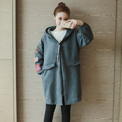 Large size women fat mm autumn 2017 new fat plus cashmere sweater coat female sister thick thin coat loose Big code L [120-145 Jin] Gray + alphabet