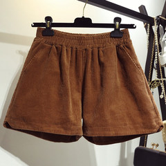 Fat mm code high waisted shorts female wide leg 200 pounds of fat and skinny corduroy shorts sister backing tide 4XL [about 180-200 catties] Chocolate
