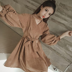 Fat mm autumn retro bow thin age dress loose large size women cover the belly meat hidden bottom dress Collection & freight insurance Camel