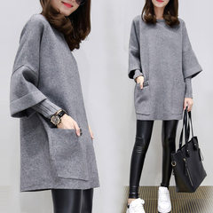Big fat mm2017 new autumn female coat loose thin fat sister sweater in the long section of Korean fashion tide (recommended to buy by weight) gray