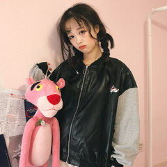Korean version of the ulzzang source of winter wind Pu female quilted leather coat thickened Pink Panther baseball uniform loose woman F Grey [clip cotton thickening cash spot]