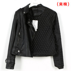 2017 new spring and autumn Korean all-match ulzzang leather female short Pu motorcycle jacket coat was thin S Black (cotton clip)