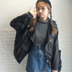 Autumn's 2017 new Korean Short motorcycle jacket loose Pu casual jacket leather leather coat students tide F black