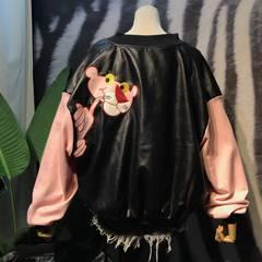 Autumn wind BF Korea ulzzang Harajuku loose pink leopard leather stitching embroidery couple female Baseball Jacket XL [about 115-130 pounds] Pink without cotton