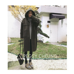 Korean female lamb cashmere coat autumn and winter BF all-match suede stitching loose hooded long sections of thick cotton padded clothes F Army green