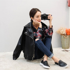 Cashmere leather female plus loose casual motorcycle jacket Korea BF wind short jacket winter 2017 thick Harajuku XL (freight) Black (no velvet)