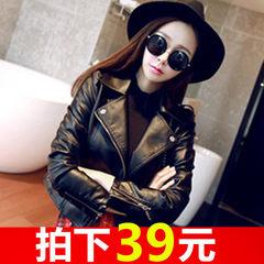 Spring and autumn leather women 2017 new Korean version of short locomotive, PU Leather Slim Slim jacket, female black coat woman Large code XL (cashmere thickening)