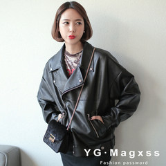 2017 new spring loose leather jacket Korean female Pu students all-match thin leather jacket Motorcycle Jacket S 90 days no reason to return