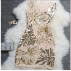 [size] every day special offer autumn elegant embroidered with sequins retro slim slim dress all-match vest dress Small code for S/M Black black (counter quality)