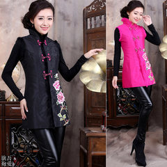 Chinese costume quilted jacket cheongsam retro fashion new autumn and winter modified cotton vest vest vest Ms. 3XL green