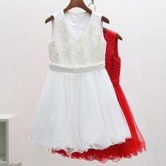 D series of 17 new autumn and winter counter Chegui cut Standard Dress exquisite Beaded vest dress in western style S white