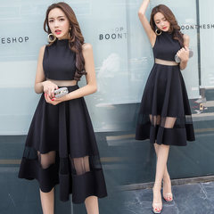 Fashion ladies dress dress small gauze stitching in midriff vest dress party party skirt Beauty beauty -- on the new skirt again Black (recommended)