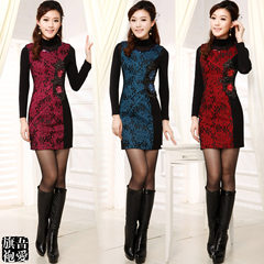 Lace embroidered flowers in autumn and winter are improved daily Chinese style short package hip dress thin OL S Blue (without bottoming)