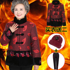Grandma put cotton and cashmere thick winter coat dress costume suit old lady aged 60-70-80 years old XL [100-115 Jin] Rose red banana flower [send] hat + trousers
