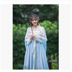 Chinese Female Costume Fairy Costume breasted chest jacket skirt wide sleeves costume Hanfu costume guzheng skirt S Light blue sleeves