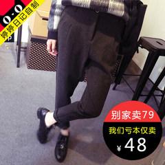 The Korean version of thick woolen Haren winter pants nine pants suit pants waist pants curling pants Normal delivery Dark grey trousers