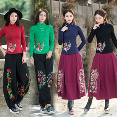 Special offer every day folk style dress thin size shirt embroidered costume cotton long sleeved T-shirt collar blouse 3XL Claret
