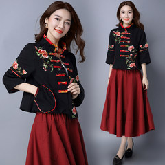 2017 new winter female folk style retro, loose cotton nine Tang suit jacket sleeve embroidered jacket M gules