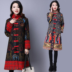 Special offer every day folk style retro coat large size women Pankou stamp costume in the long thick cotton padded jacket 3XL Princess Wencheng