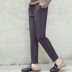 Autumn and winter hair size Nexian thin conical leisure suit pants waist elastic pants female Korean Haren feet long pants 3XL Black winter cotton polyester cotton fabric