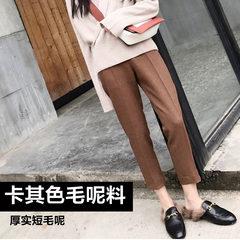 Female winter wool pants suit pants nine pants pants pants Haren waist straight pants pants wide leg pants smoke tube XS [] [] Khaki wool worsted