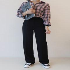 Wide leg pants female waist pants autumn winter suit pants loose Korean mopping the floor size straight legged female leisure pants XS Black (autumn winter)
