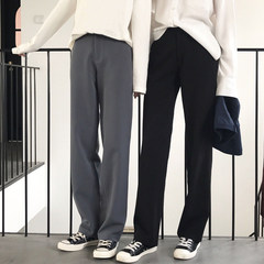 Wide leg pants female in autumn and winter high waist pants suit large loose pants mopping the Korean yards straight legged female leisure pants XS black