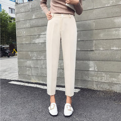 Chic suit pants pants nine female winter straight waist size thin feet leisure trousers pipe Haren pants 3XL Beige